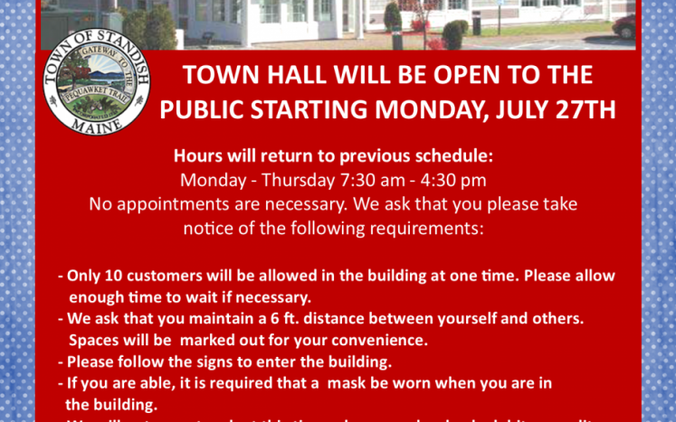 TOWN HALL OPENING ON JULY 27TH